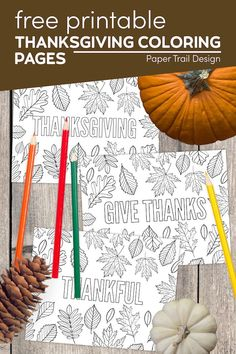 Print these Thanksgiving themed coloring pages that say Thanksgiving, Thankful, Give Thanks, Gratitude, and Grateful. Autumn Ideas, Holiday Ideas, Grateful, Thankful, Thanksgiving Coloring Pages, School Coloring Pages, Paper Trail, Fun Activities For Kids, Printable Paper