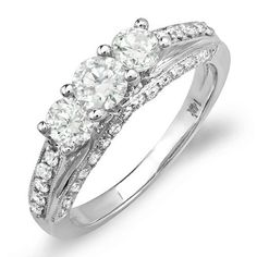 1.25 Carat (ctw) 14k White Gold Round Diamond Ladies Bridal Engagement 3 Stone Ring DazzlingRock Collection. $1109.00. Diamond Weight : 1.25 ct tw.; Gemstone : Diamond; Diamond Color / Clarity : H-I / I1-I2; Crafted in 14K white-gold; Weighs approximately 4.20 grams. Save 71%!