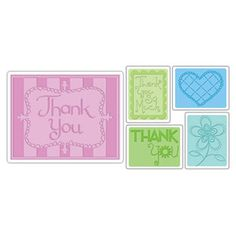 Sizzix Textured Impressions Embossing Folders 5PK - Thank You Set #3 $10.99
