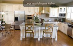 2014 summer remodel:  white kitchen with wooden floors & then extend the wooden floors throughout rest of first floor.