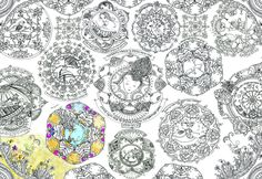 Giant Mandala Coloring Poster with Gems and Crystals Pattern for Color-In DIY Abstract Art