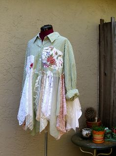 Reserved for S...Romantic Bohemian Rustic Shirt Dress by KheGreen