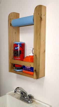 Palletwood Sink Caddy to hold your paper towels, soap and other items. Great for that laundry or garage utility sink. FixThisBuildThat.com