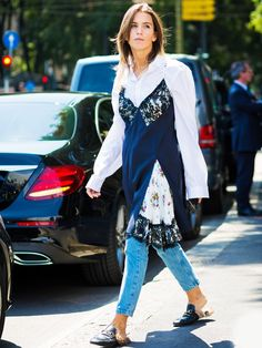 How to Wear Your Favourite Summer Slip Dress Into Autumn via @WhoWhatWearUK