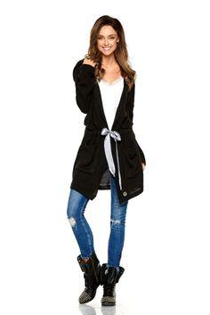 f2a147176e4f Ζακέτα πλεκτή μακριά με κουκούλα ζώνη και τσέπες - Μαύρο. Fashion Addict ...