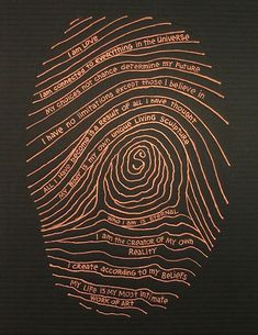 This is the artist& fingerprint in a copper colour on black. Words about identity are written in the fingerprint. Fingerprint Art, Art Painting, Identity Art, Word Art, Line Art, Fabric Art, Art, Abstract, Paper Art