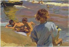 Children on the Beach, Valencia - Joaquín Sorolla - Completion Date: 1916