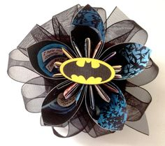 For Sarah to match Cameron, green lantern for Kacy and flash for Renee- Batman Boutonnière or Hair Clip. $20.00, via Etsy.