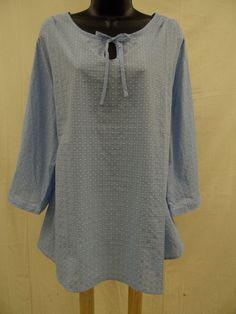 Misses Size XL  Cotton Blend PEASANT Top Shirt KEYHOLE Lightweight Swiss Dot NWT…