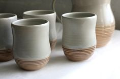 Ceramic Gray and Mauve Tumblers - Set of 4 - Pottery Cups with Grooves. $64.00, via Etsy.