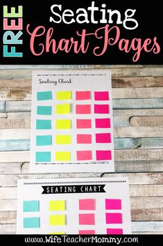 Free Seating Chart Pages for elementary. #backtoschool