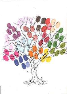 Cute finger print family tree idea-this would be neat to paint in a classroom, using your students...