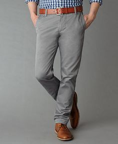 Look 7 Dockers Pants, Alpha Khaki Slim Fit - Mens Pants - Macy's Dress up or Down Grey Pants Brown Shoes, Grey Pants Outfit, Mens Grey Pants, Gray Pants, Kakis, Grey Chinos, Look 2015, Dockers Pants, Swagg