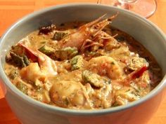 Shellfish and Andouille Gumbo with Shrimp, Scallops, Clams and Oysters with Crispy Okra | Non-traditional Gumbo.