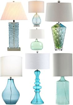 Classic Coastal Theme Table Lamps Blue Coastal Glass Table Lamps that Mimic the Shimmering Sea. Coastal Living Rooms, My Living Room, Plywood Furniture, Blue Table Lamp, Glass Table Lamps, Blue Floor Lamps, Blue Glass Lamp, Blue Lamps, House Lamp