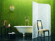 20 Cool Green Bathroom Design Ideas Awesome Tiles Wall With Tub And Black Floor