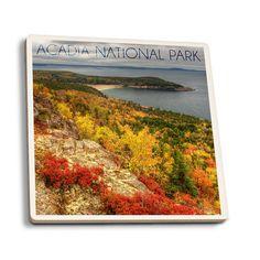 Acadia National Park ME Fall Scenery LP Photo (Set of 4 Ceramic Coasters)