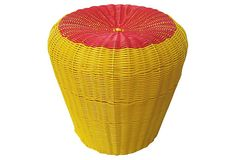 Cable Woven Stool, Yellow/Red on OneKingsLane.com
