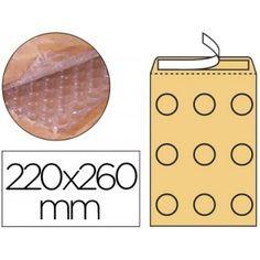 Bolsas acolchadas para el envío de artículos delicados, fabricadas en papel kraft con interior forrado de burbujas de aire.   Medidas: 220 x 260 mm.  Paquete de 10 sobres.