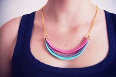 DIY rainbow necklace Diy Jewelry, Jewelry Making, Jewelry Ideas, Jewellery, Olive One, Diy Collier, Diy Fashion Accessories, Polymer Clay Creations, Diy Clothing