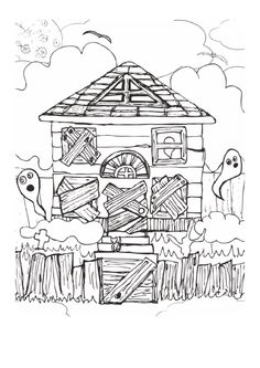 easy haunted house drawing - Google Search | haunted ...
