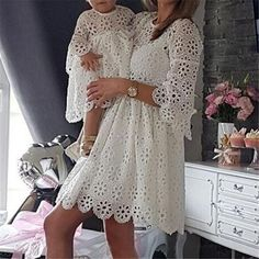 Fashion Family Matching Clothes Mother Daughter Dresses Women Floral L – Tee Empire Mother Daughter Dresses Matching, Mommy And Me Dresses, Mom Dress, Matching Family Outfits, Toddler Girl Dresses, Matching Clothes, Toddler Girls, Mother Daughters, Dresses Short