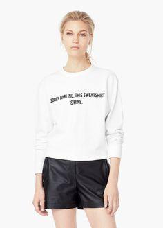 Suéter algodão mensagem | MANGO