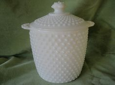 vintage milk glass cookie jar