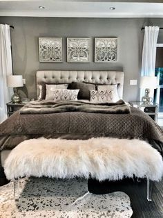 love with my grey master bedroom aesthetic! The tufted headboard and grey + white shams make for a chic bed set up. The white faux fur bench is from Parker & Hyde in Dallas. More details to the chic bedroom design coming soon! Glam Bedroom, Home Decor Bedroom, Modern Bedroom, Chic Bedroom Ideas, Trendy Bedroom, Bedroom Colors, Adult Bedroom Ideas, Classy Bedroom Decor, Bedroom Plants