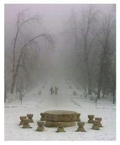 Table of Silence by Constantin Brancusi, Targu Jiu, Romania Alberto Giacometti, Design Set, Land Art, Modern Sculpture, Sculpture Art, Brancusi Sculpture, Nam June Paik, Constantin Brancusi, Poesia Visual