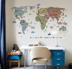 Esse é o Mapa Mundi Aventura, onde em cada país há algum elemento que o representa, seja cultural, geográfico, etc!  istickonline.com