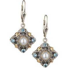 Phillip Gavriel 18K Yellow Gold & Sterling Silver 7mm Pearl & Blue... ($120) ❤ liked on Polyvore featuring jewelry, earrings, sterling silver pearl earrings, long gold earrings, gold filigree earrings, long pearl earrings and gold dangle earrings