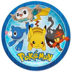 Complete their Pokemon party tableware with Pokemon Core Lunch Plates! These large paper plates feature Pikachu and other popular Pokemon characters around a Pokemon logo on a blue background. Pokemon Themed Party, Pokemon Birthday, Create A Pokemon, Pokemon Gengar, Pokemon Party Supplies, Thema Deco, Party Plates, Dinner Plates, Dessert Plates