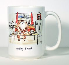 Cat Mug, Morning Cat, Cat Making Bread Mug, Cat Kitchen Art