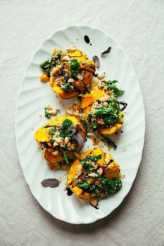 stuffed squash with broccoli rabe and quinoa // thefirstmess.com #broccolirabe