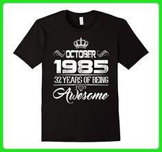 Mens October 1985 32th Birthday Gift Idea 32 yrs old Bday T-shirt XL Black - Birthday shirts (*Amazon Partner-Link)