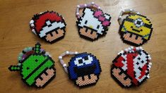 Pokeball, Hello Kitty, Minion, Android, Cookie Monster, Ghostbusters mushrooms perler beads by LadyRaveicorn