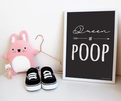 NEW IN! | These, funny 'Queen/King of Poop' posters are online now! #nursery #posters #kidsroom #babyroom #kingofpoop #queenofpoop #agirlcalledcat