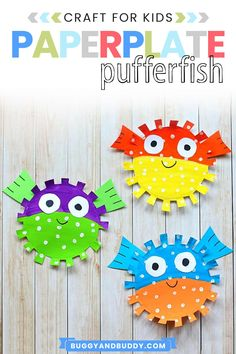Create colorful pufferfish in this paper plate craft and art project. Goes great with an ocean or sea life unit or even a summer craft or summer camp project! Also provides fine motor scissor skills practice. #craftsforkids #kidscrafts #summercrafts #paperplatecrafts #pufferfish #artprojectsforkids #artforkids #summercrafts #summercamp #finemotor