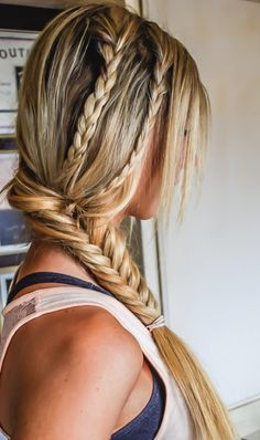 Braid two smaller braids into a fishtail braid. Cute for summer!