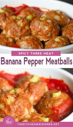 These meatballs are seriously insane! Super juicy, super tender and loaded all kinds of deliciousness thanks to 3 meats and banana peppers! Spicy Three Meat Banana Pepper Meatballs are a must! Meatloaf Recipes, Meat Recipes, Cooking Recipes, Healthy Recipes, Meatball Recipes, Recipies, Meat Meals, Bbq Meat, Healthy Dinners