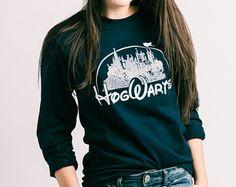 Harry Potter Clothing Hogwarts Heather Navy/Slate Long Sleeve Shirt Unisex Adults