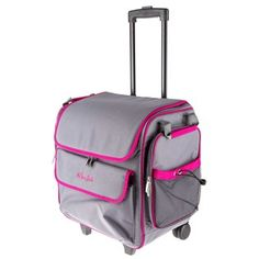 Carry all your scrapbooking supplies with you in style and ease with this Gray & Pink Rolling Scrapbook Tote. For storage at home and an easy way to transport supplies when going to a scrap booking party.    The tote features compartments everywhere on the outside and inside to store your favorite supplies including a telescoping handle, made of durable polyester, inside dividers, fully organized pockets for supplies. telescoping handle, made of durable polyester, inside dividers, ...