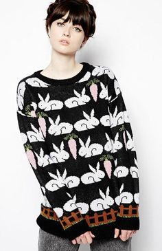 this is pure cuteness!!!  Black Long Sleeve Rabbit Radish Print Sweater 23.33
