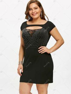 Rhinestone Plus Size Ripped Chest Sheath Dress - BLACK 2XL