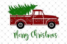 Christmas Tree Delivery Truck SVG Cut files for Cricut and Silhouette.