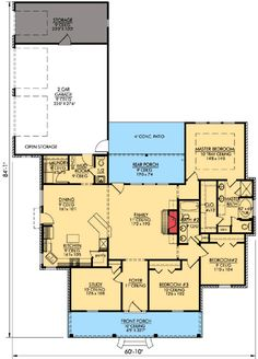 3 bedroom bath and study. Side loading garage and outdoor storage. Best House Plans, Dream House Plans, Small House Plans, House Floor Plans, Master Suite, Master Bedroom, Master Plan, Acadian Homes, Butler