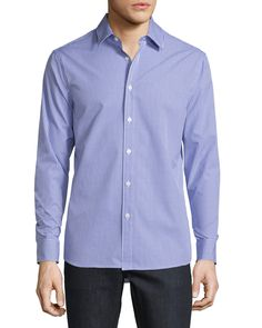 Andre Slim-Fit Check Sport Shirt, Light Purple - Michael Kors