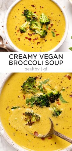 This VEGAN Creamy Broccoli Soup is made with tons of veggies and cashews, has the most luxurious texture and tastes like it has cheese. The best easy and healthy homemade soup recipe! Healthy Soup, Healthy Recipes, Healthy Broccoli Soup, Vegan Recipes Broccoli, Quinoa Broccoli, Vegan Soups, Healthy Eats, Brocoli Soup, Pureed Soup