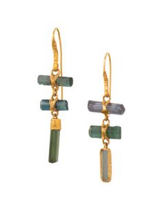 Three Drop Tourmaline Earrings